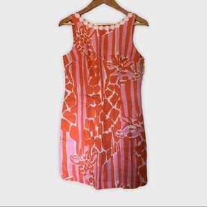 LILLY PULITZER Giraffeey Sheath Mini Dress Linen 6